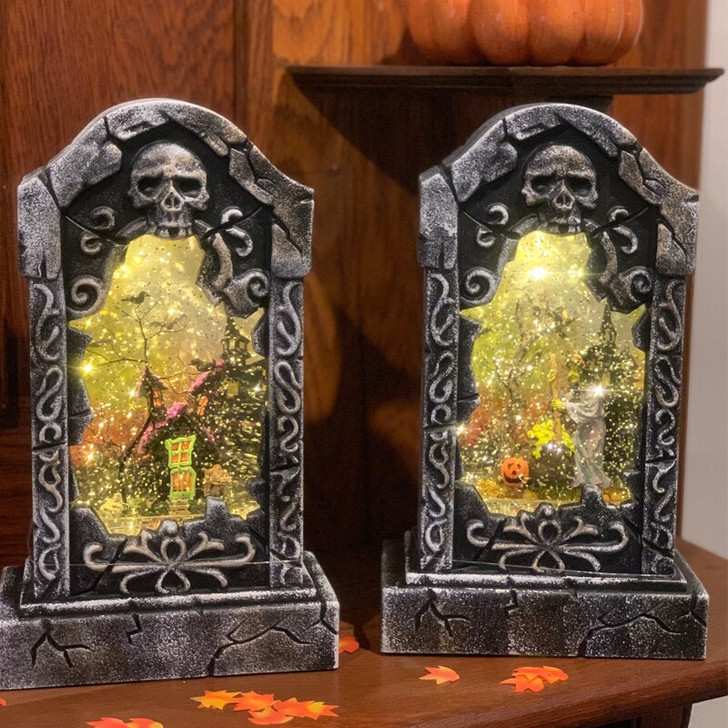 "11"" Battery Operated LED Lighted Tombstone Spinning Water Globe Halloween Lanterns 2436630"