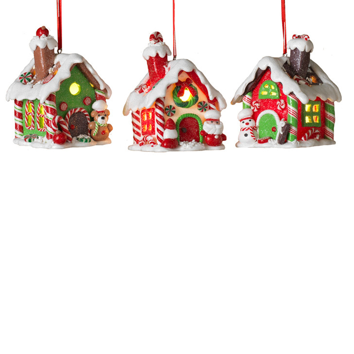 "3.25"" Battery Operated Lighted Claydough Gingerbread House Christmas Ornament 2497170"
