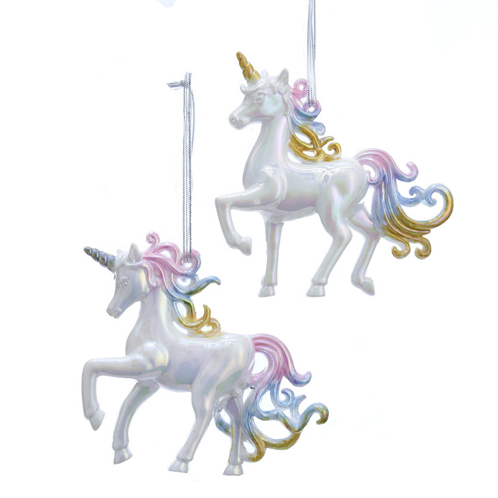 "4"" Iridescent Pastel Rainbow Unicorn Christmas Ornament T2502"