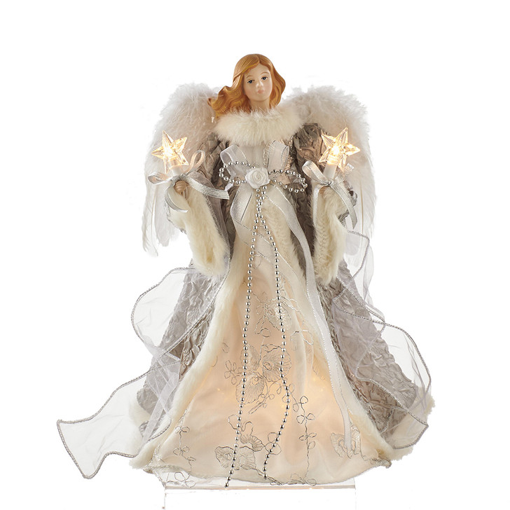 "14"" Lighted Silver and Gray Angel Christmas Tree Topper UL2223"