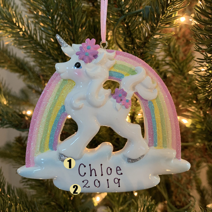 "4.5 ""Unicorn and Rainbow Personalised Christmas Ornament W8457-1"