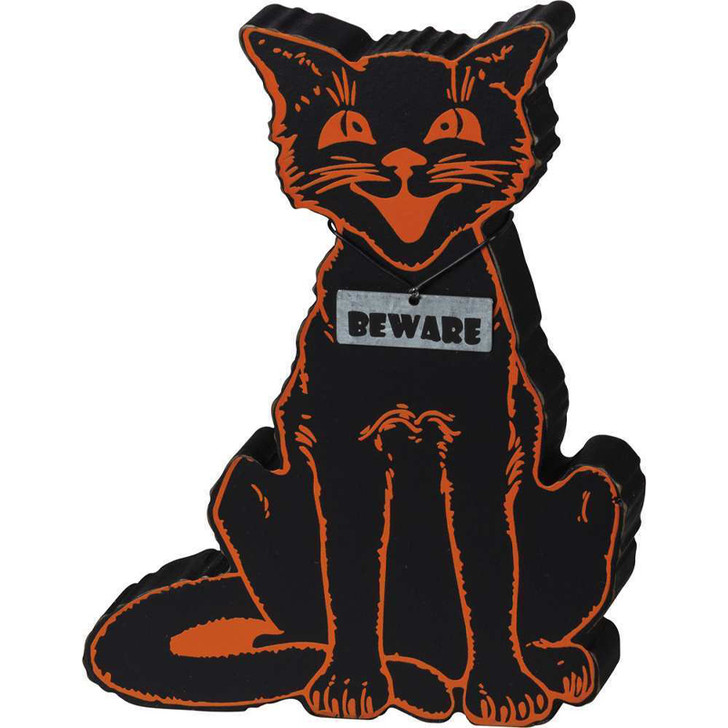 """Primitives By Kathy 6.5"""" Black Cat Beware Chunky Sitter Halloween Sign 101874"""