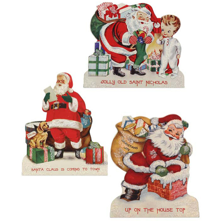 "Bethany Lowe 8.5"" Retro Santa Christmas Sign RL2322"