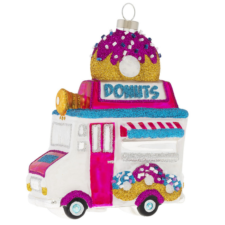 Kat + Annie Donut Truck Glass Christmas Ornament 73157