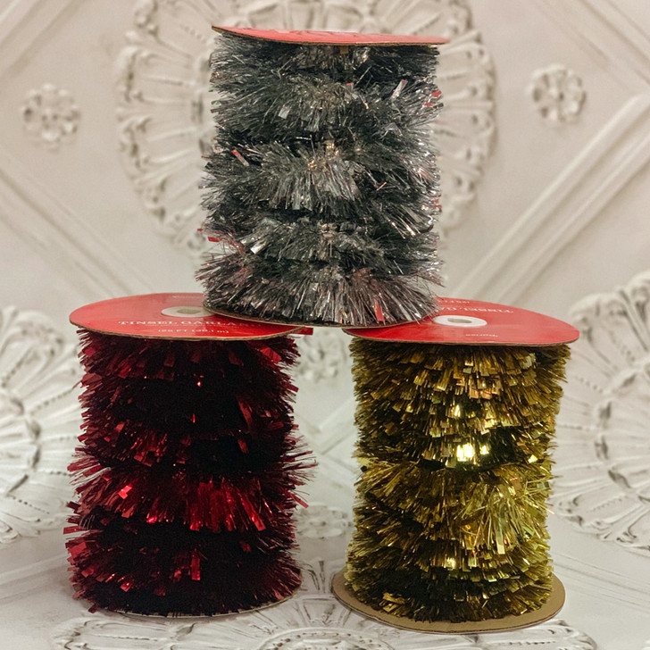 125' Red, Silver, or Gold Christmas Tinsel Garland On Roll 30080328-2