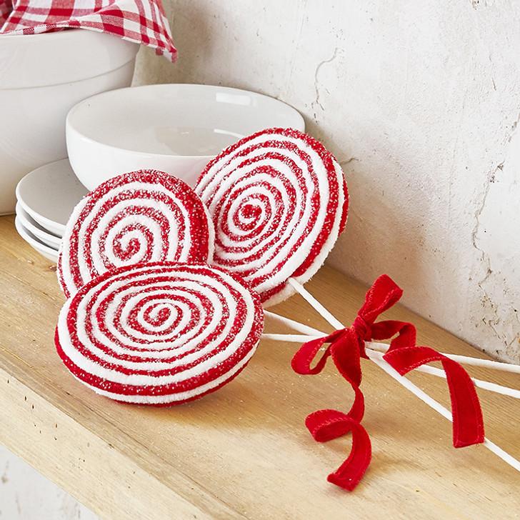 "Christmas Tree Trio: Raz 17"" Red And White Trio Of Lollipops Bundle Christmas"