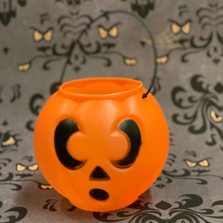 "6"" Jack-O-Lantern Halloween Blow Mold Candy Pail H1600"