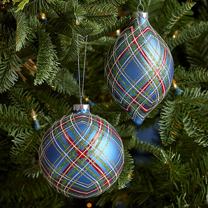 "Raz 4.75"" Blue Plaid Glittered Glass Christmas Ornament 3924606"