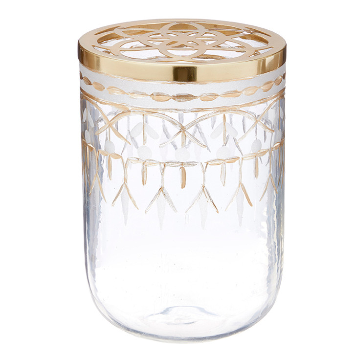 "Raz 9"" Gold Etched Glass Arrangement Vase 3905347"
