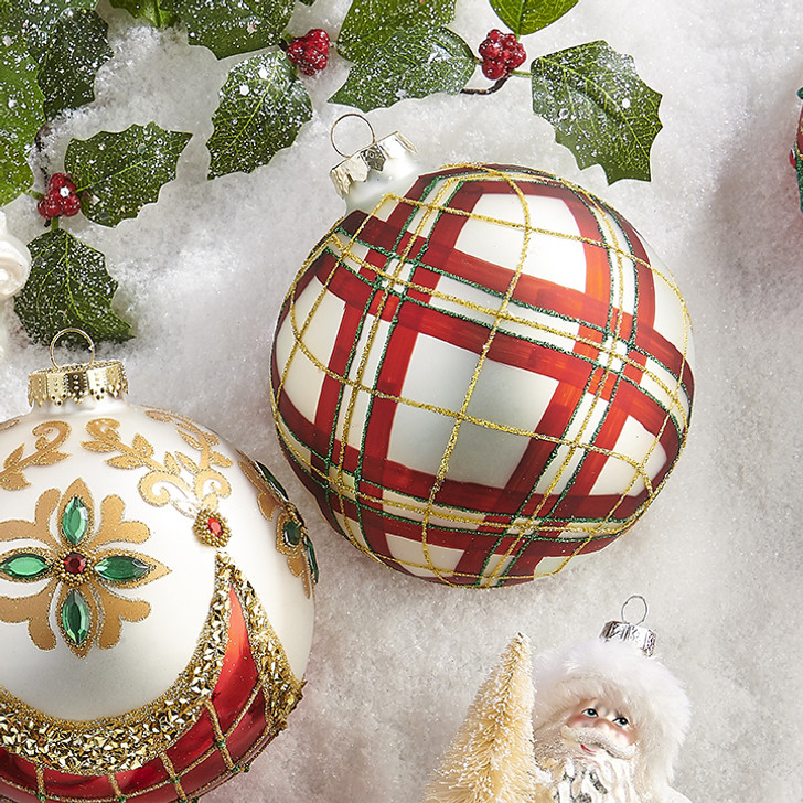 """Raz 5"""" Red, White, Green, and Gold Plaid Patterned Glass Christmas Ornament 3924546"""