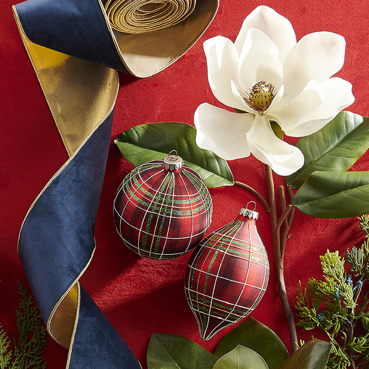 "Raz 4"" Blue Velvet and Gold Wired Christmas Ribbon R3971784"