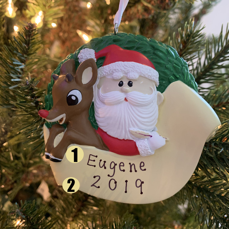 "Hallmark 3.6"" Rudolph and Santa Personalized Christmas Ornament 2HCM5657"