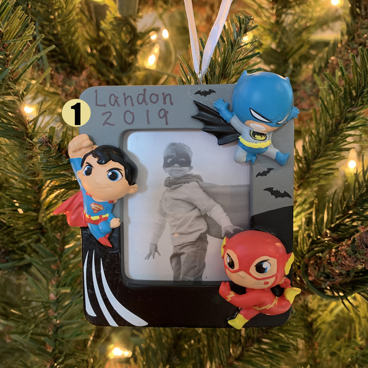 "Hallmark 3.5"" DC Super Friends Photo Holder Personalized Christmas Ornament 2HCM5422"