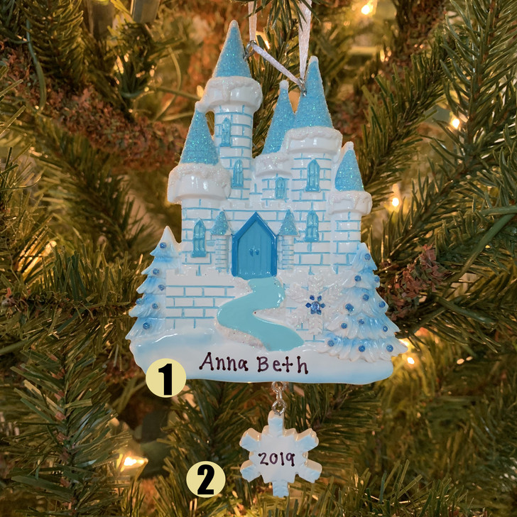 Blue and White Ice Castle Personalized Christmas Ornament OR1462