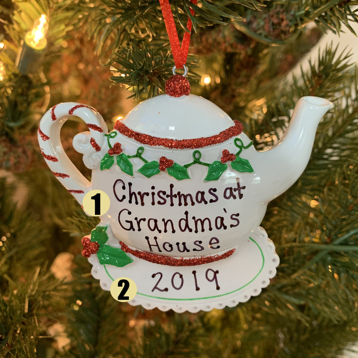 Grandma's Teapot Personalized Christmas Ornament OR1681