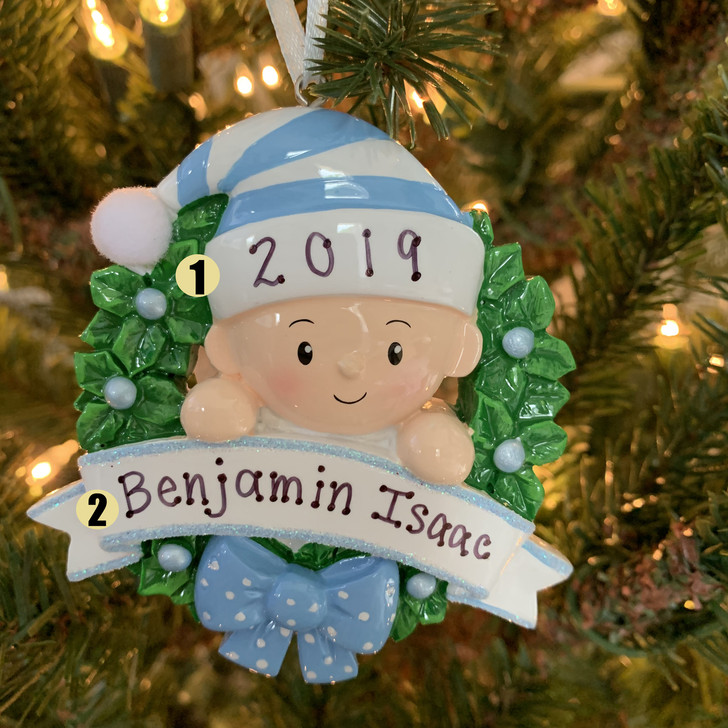 Blue Baby Boy in Wreath Personalized Christmas Ornament OR1746-B