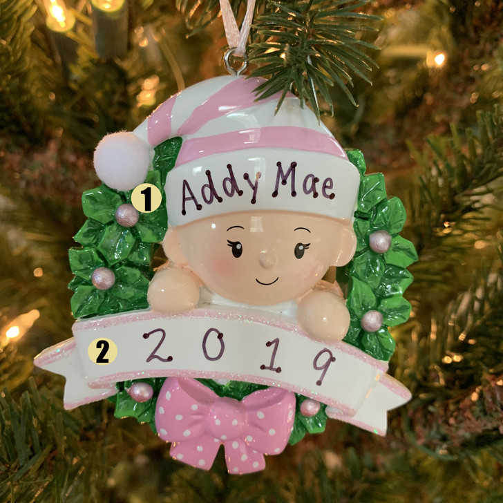 Pink Baby Girl in Wreath Personalized Christmas Ornament OR1746-P