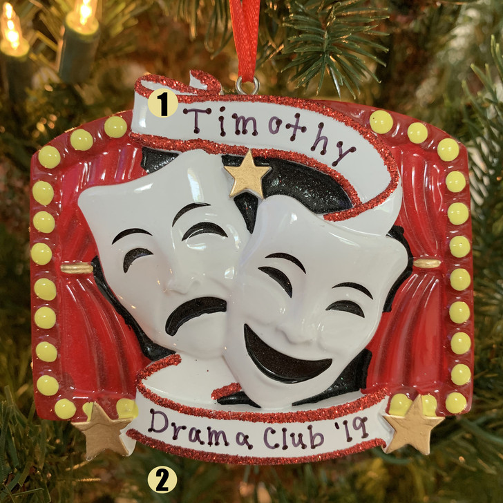 Drama Theatre Masks Personalised Christmas Ornament OR1801