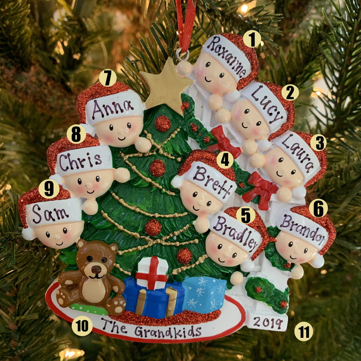 Family of 9 Around the Christmas Tree Personalized Ornament OR1789-9
