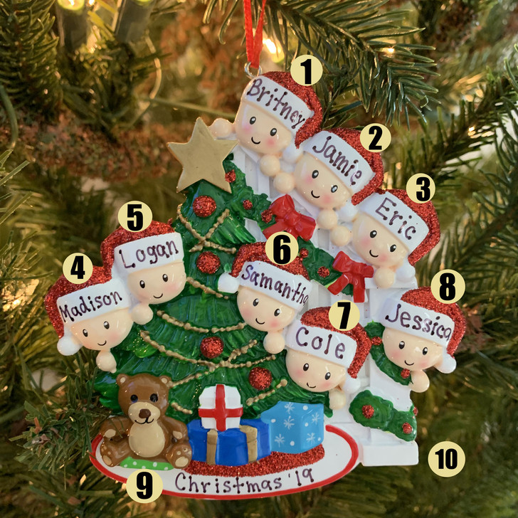 Family of 8 Around the Christmas Tree Personalized Ornament OR1789-8