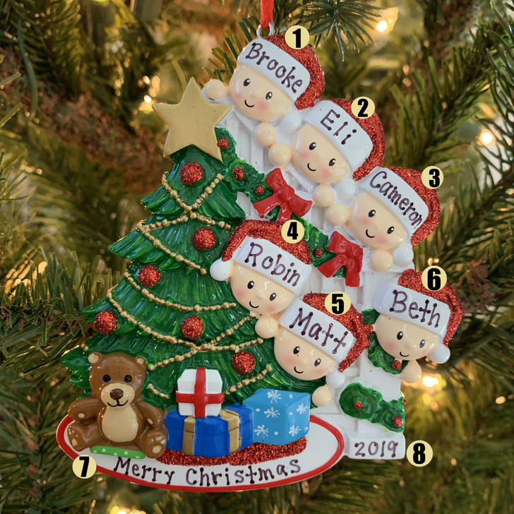 Family of 6 Around the Christmas Tree Personalized Ornament OR1789-6