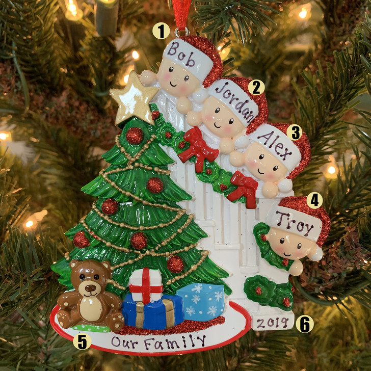 Family of 4 Around the Christmas Tree Personalized Ornament OR1789-4
