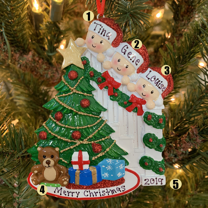 Family of 3 Around the Christmas Tree Personalized Ornament OR1789-3