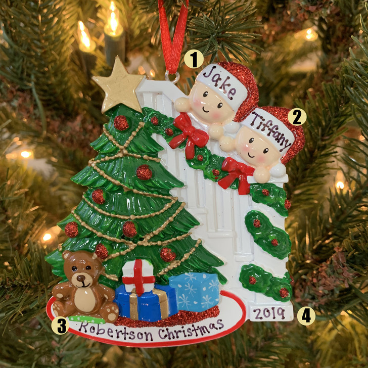 Couple Around the Christmas Tree Personalized Ornament OR1789-2