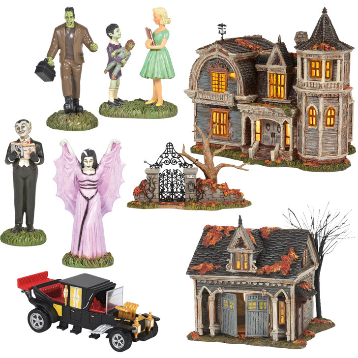 Department 56 8 Piece The Munsters Halloween Village