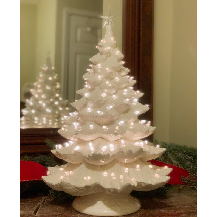 "Large Lighted White Ceramic Christmas Tree 23"""