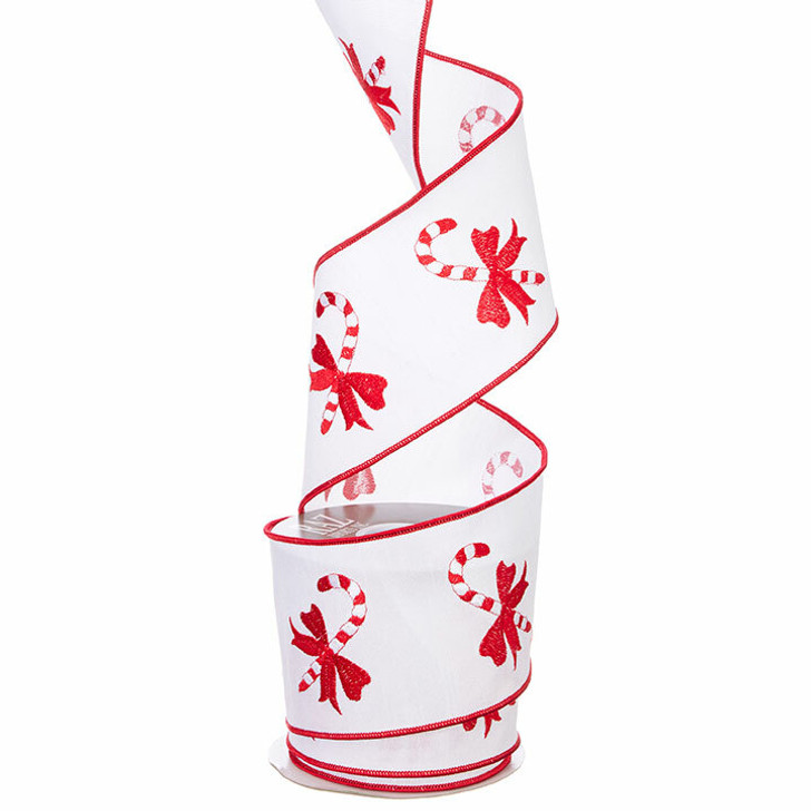 "Raz Imports 4"" White and Red Candy Cane Wired Christmas Ribbon R3971776"
