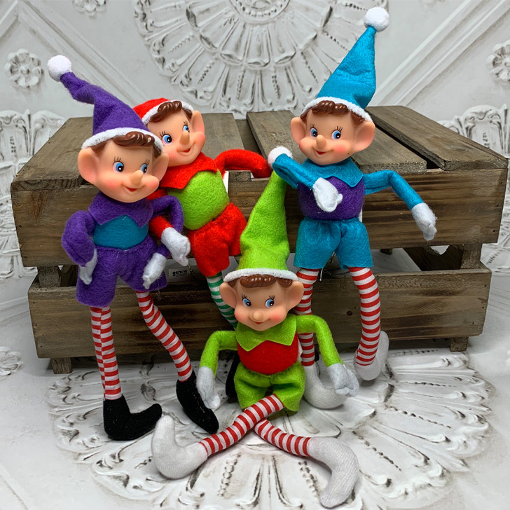 "10"" Multicolor Bendable Elf Christmas Ornament 14510001"