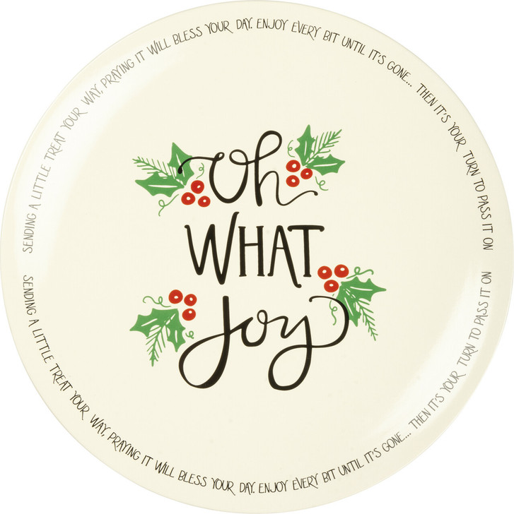 Primitives By Kathy Oh What Joy Christmas Blessing Plate Christmas Giving Plate 103386