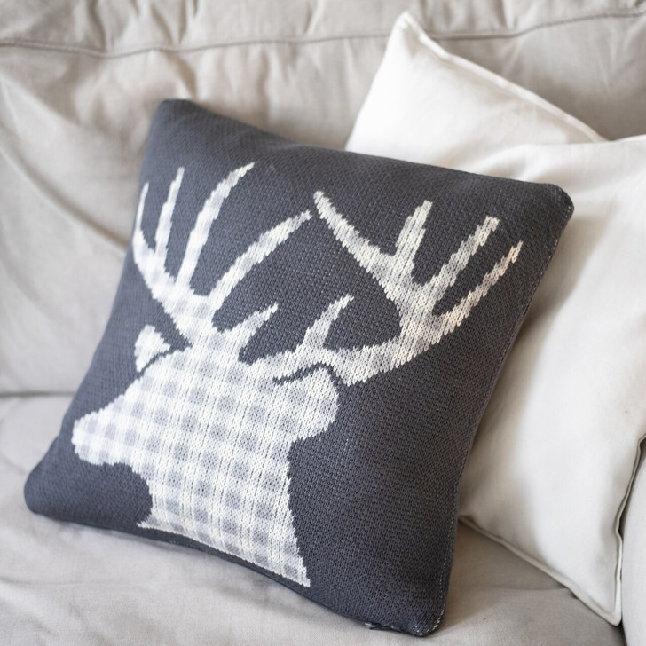 Primitives By Kathy Grey Buffalo Plaid Deer Christmas Pillow 100265