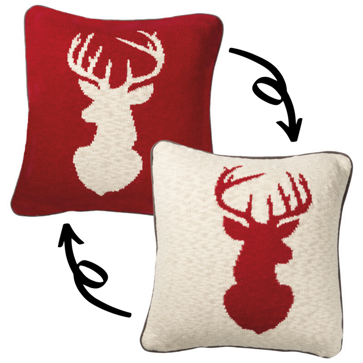 "Primitives By Kathy 18 ""Reversible Red and White Deer Christmas Pillow 37381"
