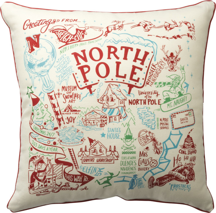 """Primitives By Kathy 20"""" North Pole Map Christmas Pillow 33775"""