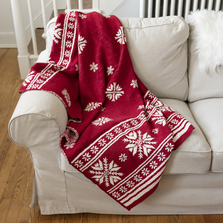 """Primitives By Kathy 60"""" Red and White Nordic Christmas Throw Blanket 37387"""
