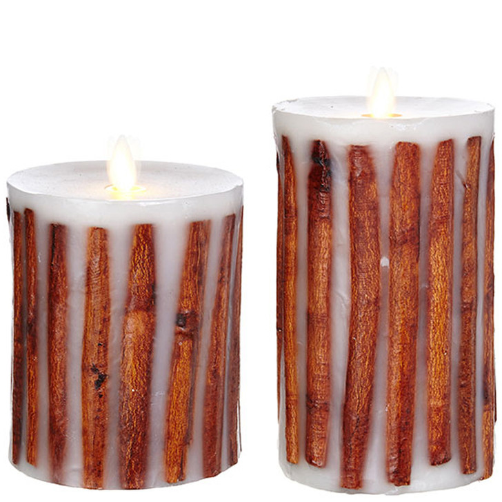 """Liown 3.5"""" x 5"""" or 7"""" Moving Flame Cinnamon Stick Pillar Candle"""