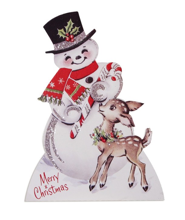 """Bethany Lowe 9"""" Sparkle Snowman and Deer Christmas Sign RL9825"""