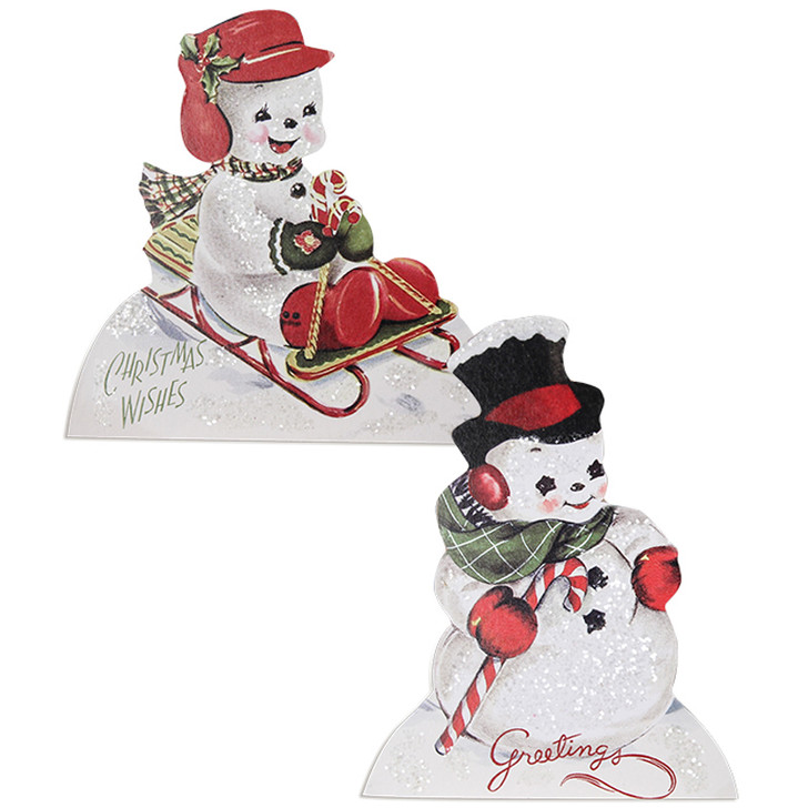 "Bethany Lowe 6"" Playful Snowmen Standing Christmas Sign RL9826"