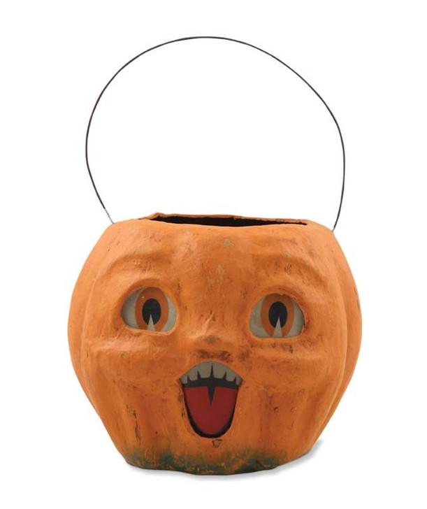 "Bethany Lowe 6"" Happy Vintage Pumpkin Halloween Candy Bucket TJ2411"