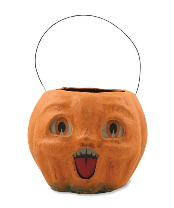 "Bethany Lowe 6"" Happy Vintage Pumpkin Halloween Candy Bucket TJ2411"