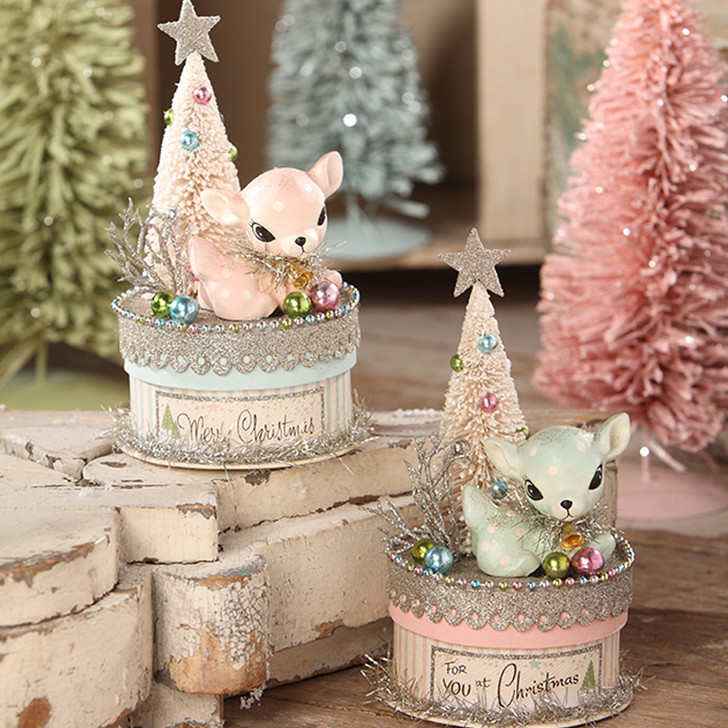 """Bethany Lowe 7.5"""" Pink or Blue Pastel Deer on Box Christmas Decoration TL7832"""