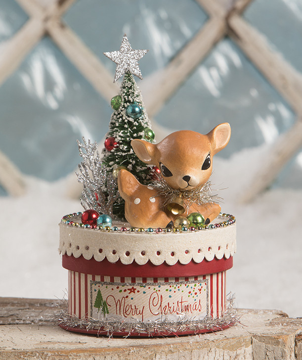 "Bethany Lowe 7"" Merry and Bright Deer on Box Christmas Figure TL9415"