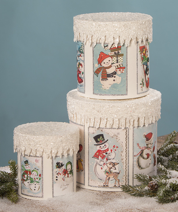 Bethany Lowe Set of 3 Frosty the Snowman Christmas Nesting Boxes TL9416