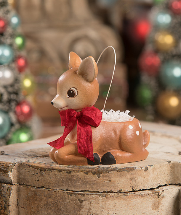 "Bethany Lowe 4.25"" Lil' Reindeer Bucket Christmas Ornament TL9424"