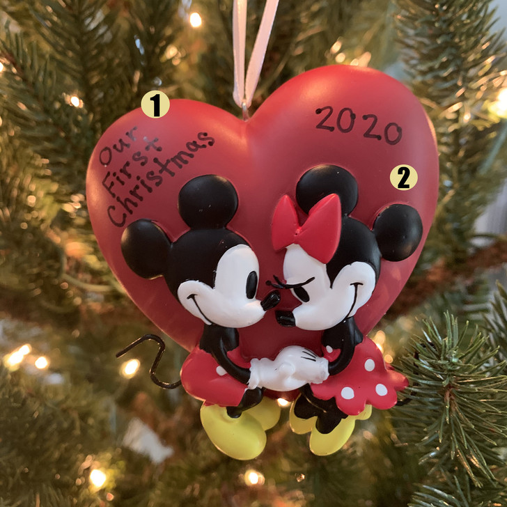 "Hallmark 3.25"" Mickey and Minnie Love Personalized Christmas Ornament 2HCM5656 -2"