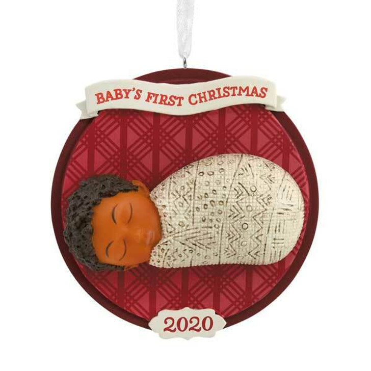"Hallmark 3"" Baby's First Christmas African American 2020 Dated Christmas Ornament 1HDA1549"