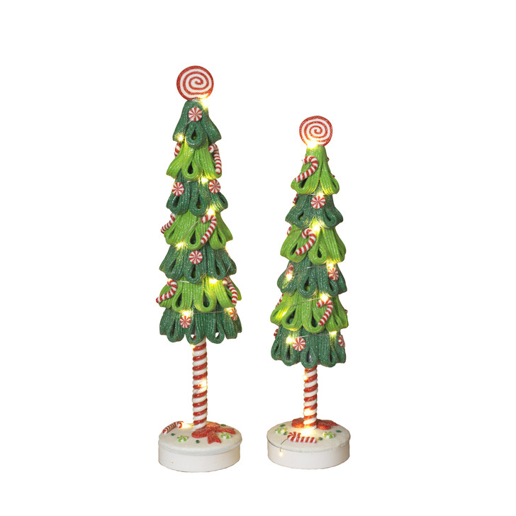 "Set of 2 16.75"" Battery Operated LED Lighted Claydough Christmas Tree Figures 2548030"