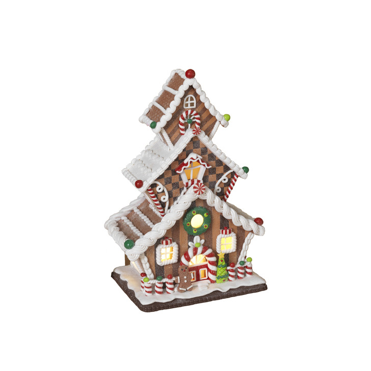 """13"""" Battery Operated LED Lighted Claydough Gingerbread House 2549740"""